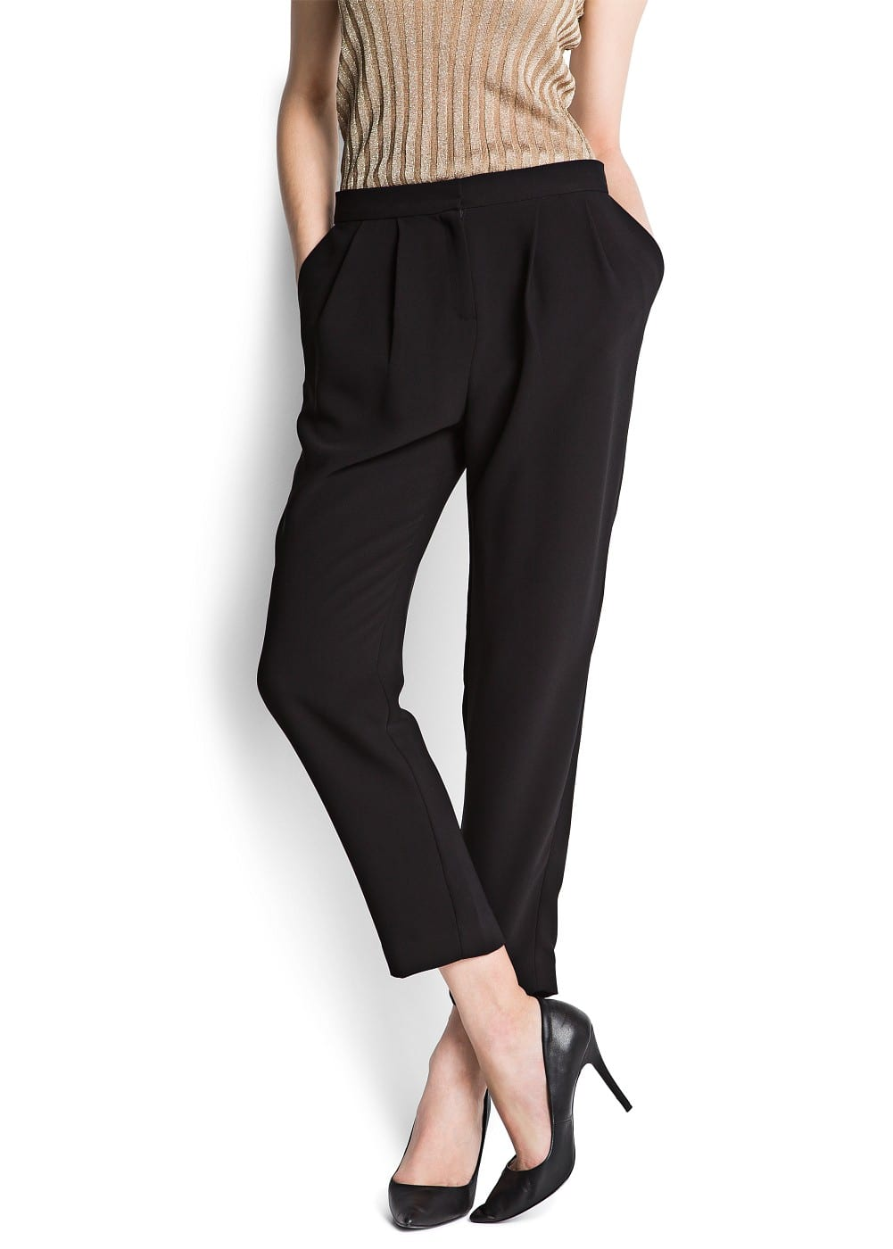Pleated tapered trousers | MANGO