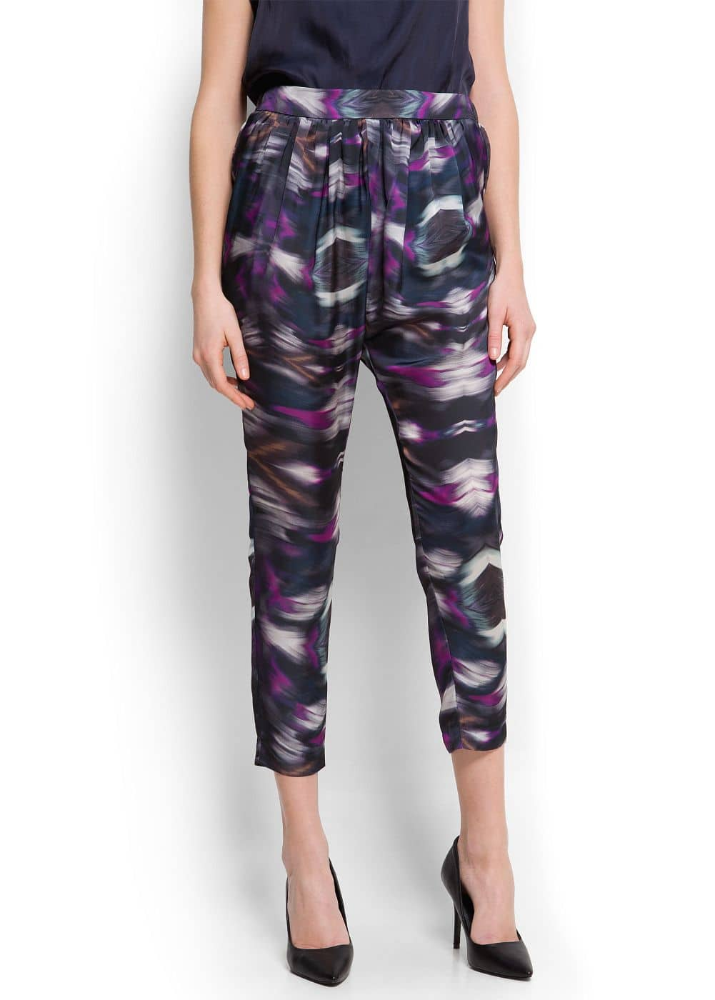Printed tapered trousers   MANGO
