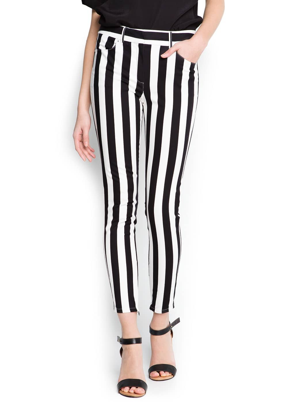 Striped skinny trousers | MANGO