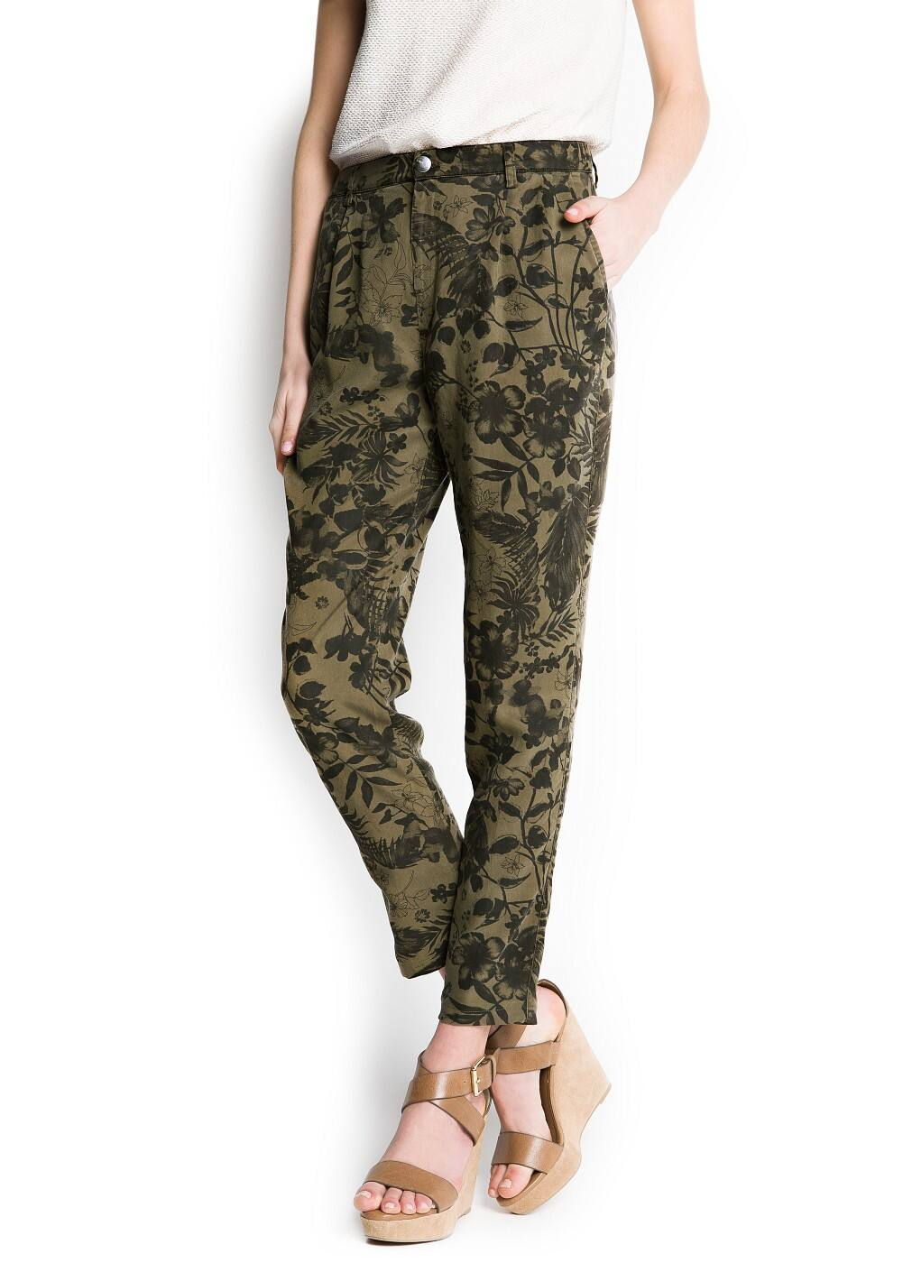 Floral baggy trousers | MANGO