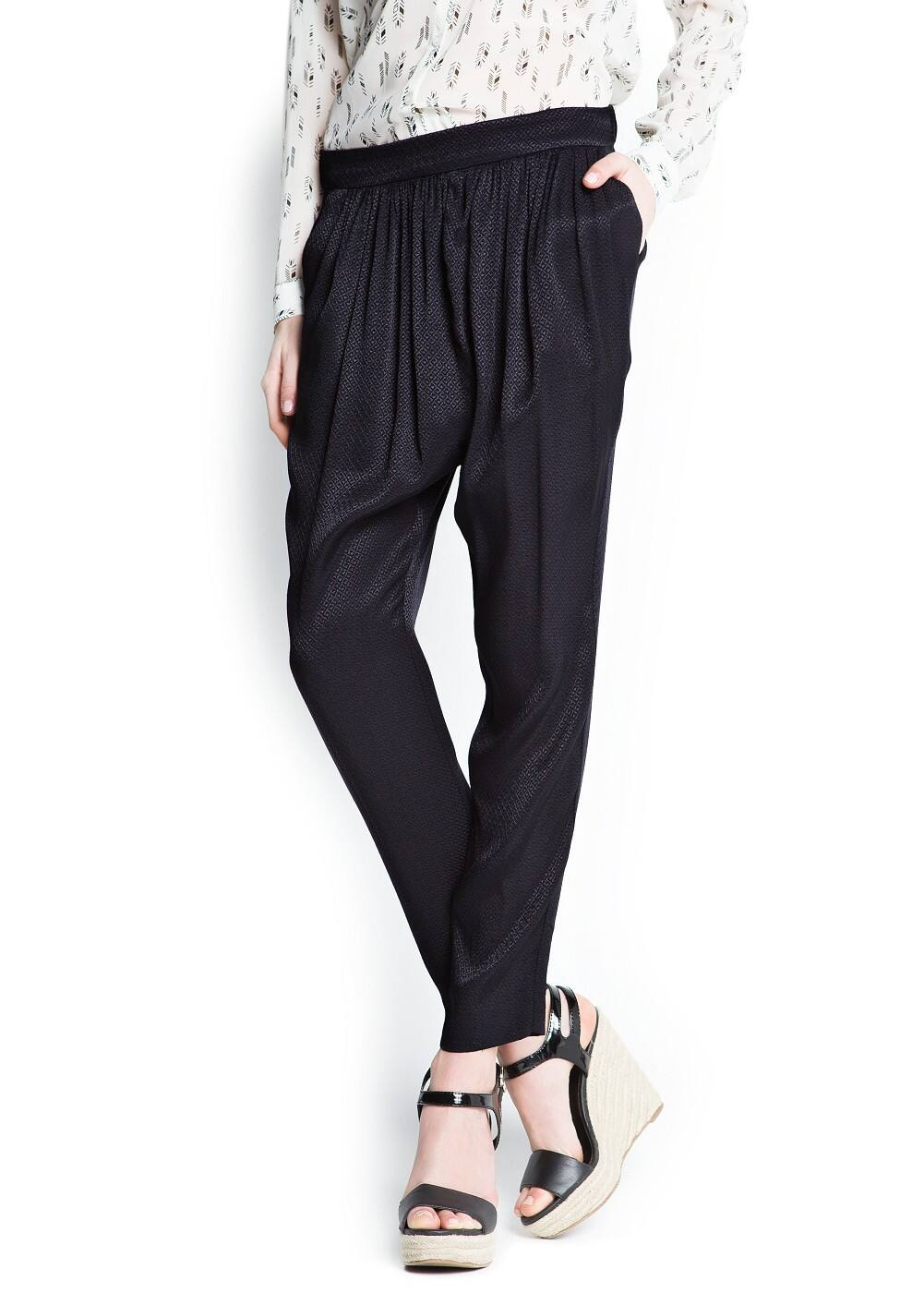Pleated textured baggy trousers | MANGO