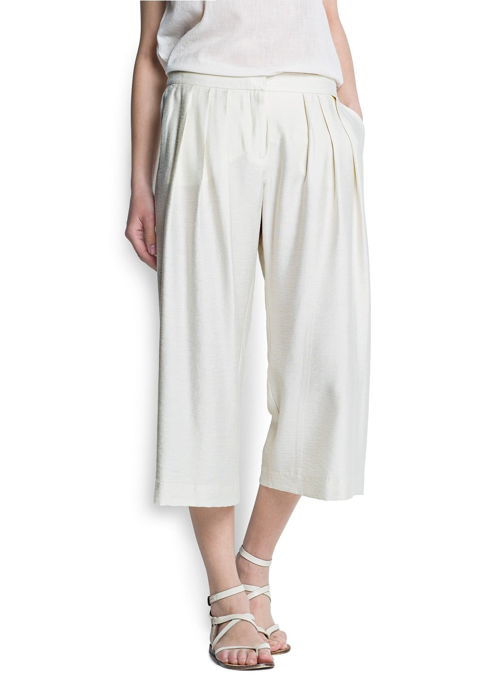Cropped wide-leg trousers | MANGO