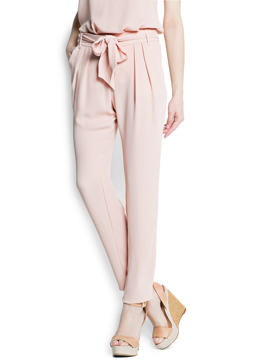 Bow crepé trousers | MANGO