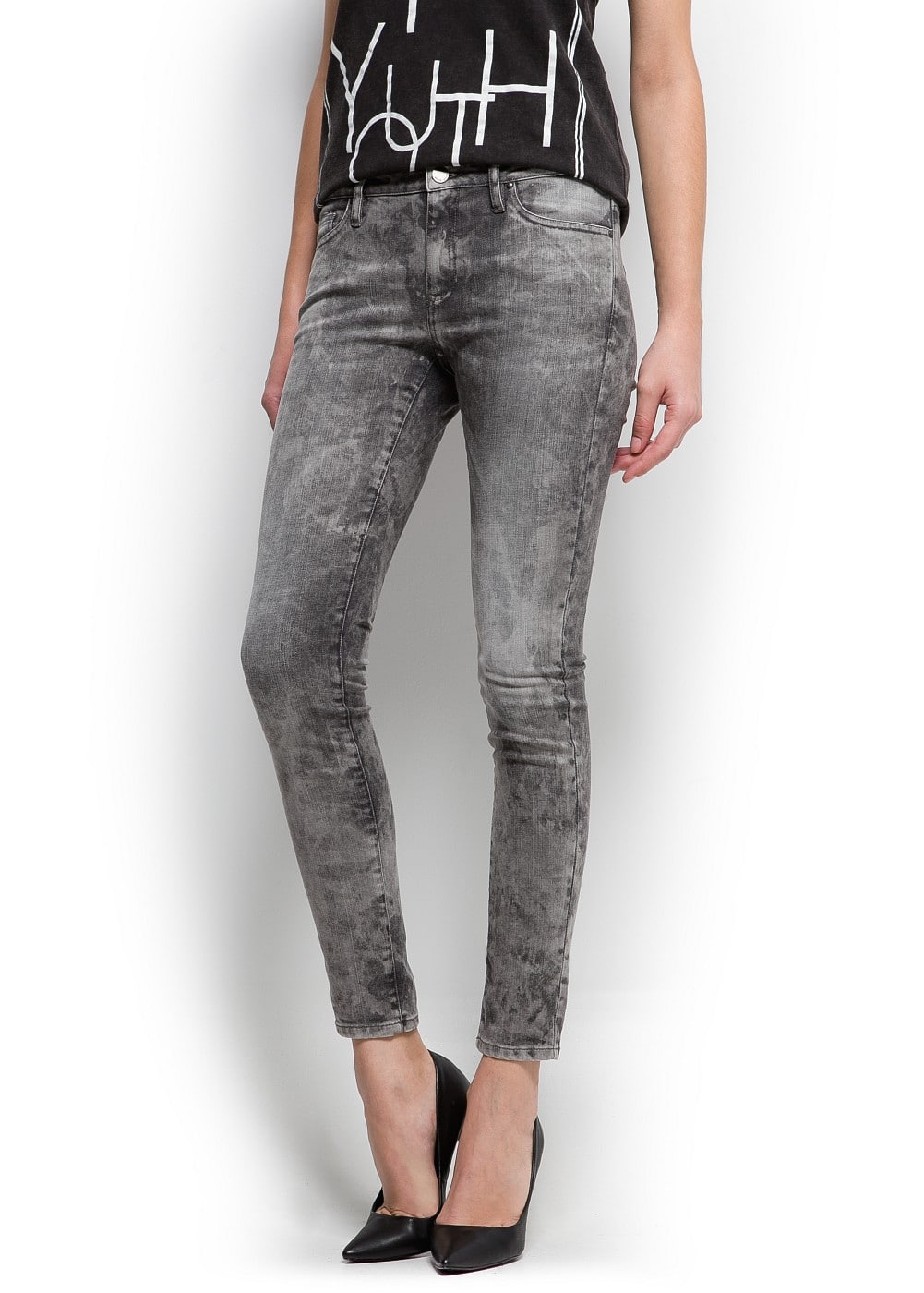 Acid wash super slim jeans | MANGO
