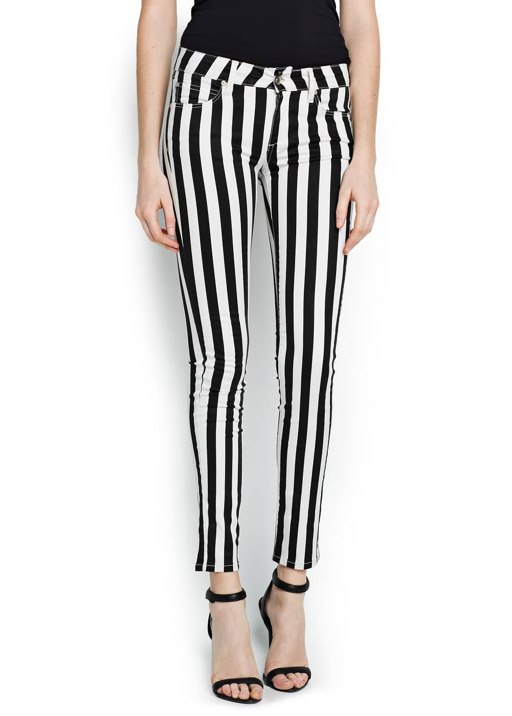 Super slim-fit coated striped jeans | MANGO