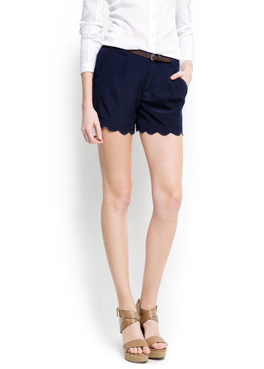 Scalloped hem shorts | MANGO
