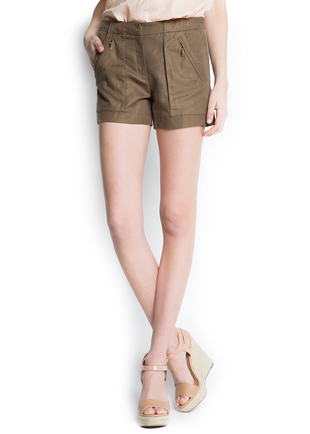 Linen cotton-blend shorts | MANGO