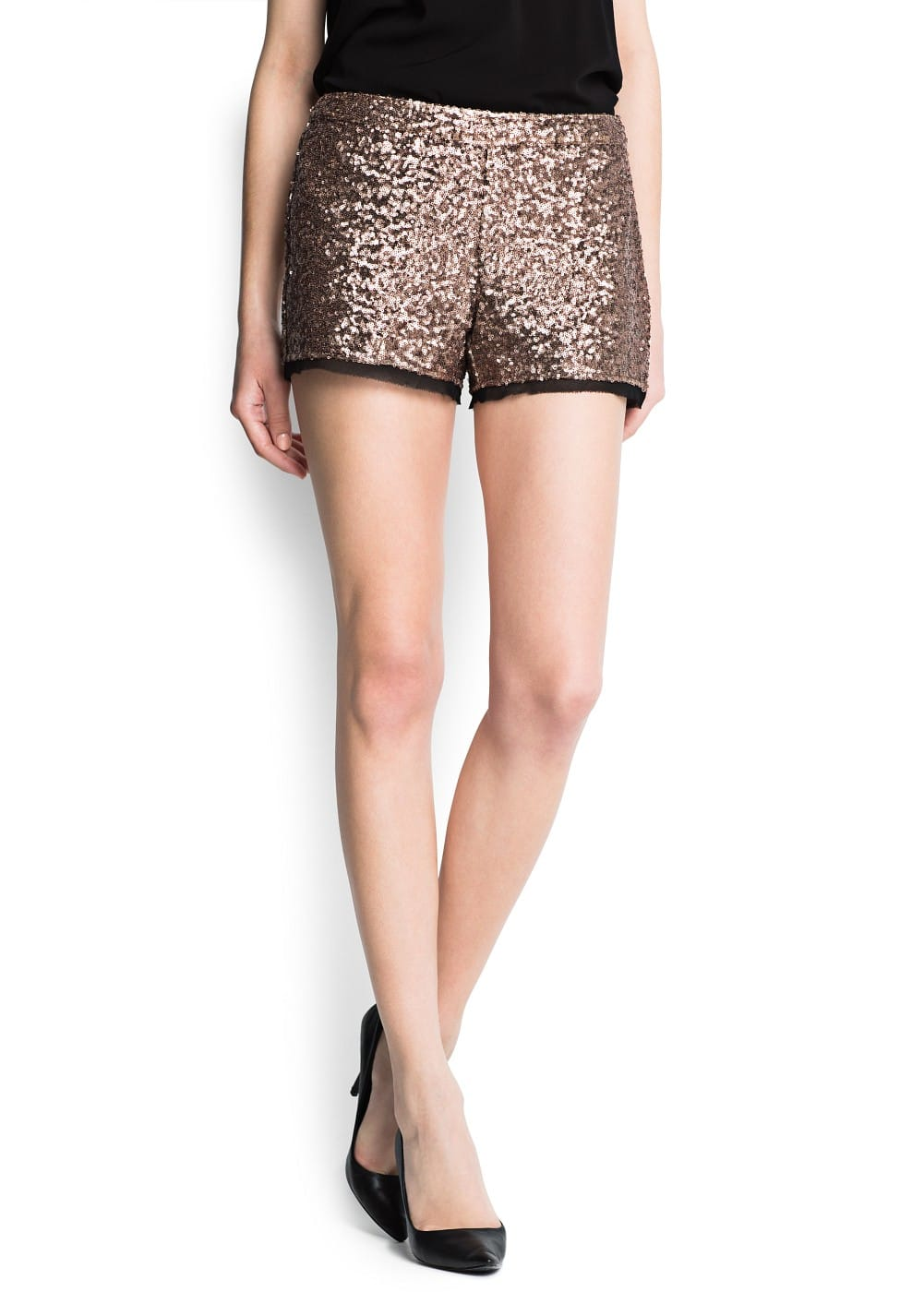Chiffon hems sequined shorts | MANGO