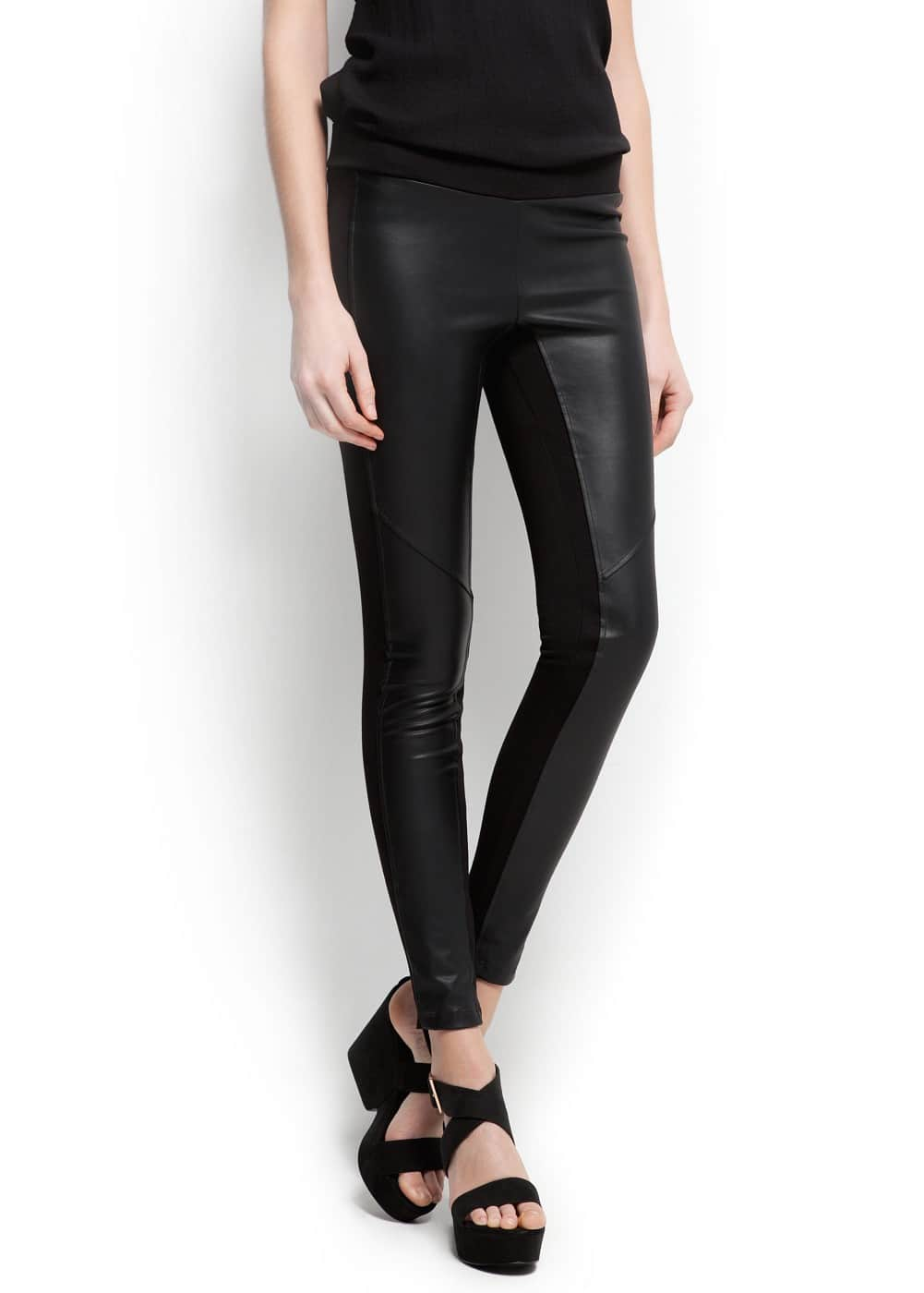 Faux leather panel leggings | MANGO