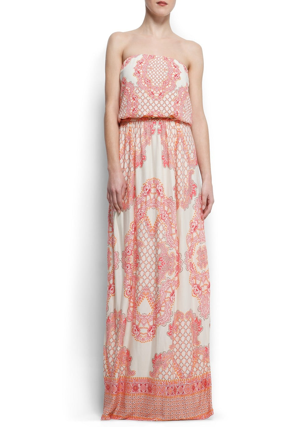 Strapless printed gown | MANGO