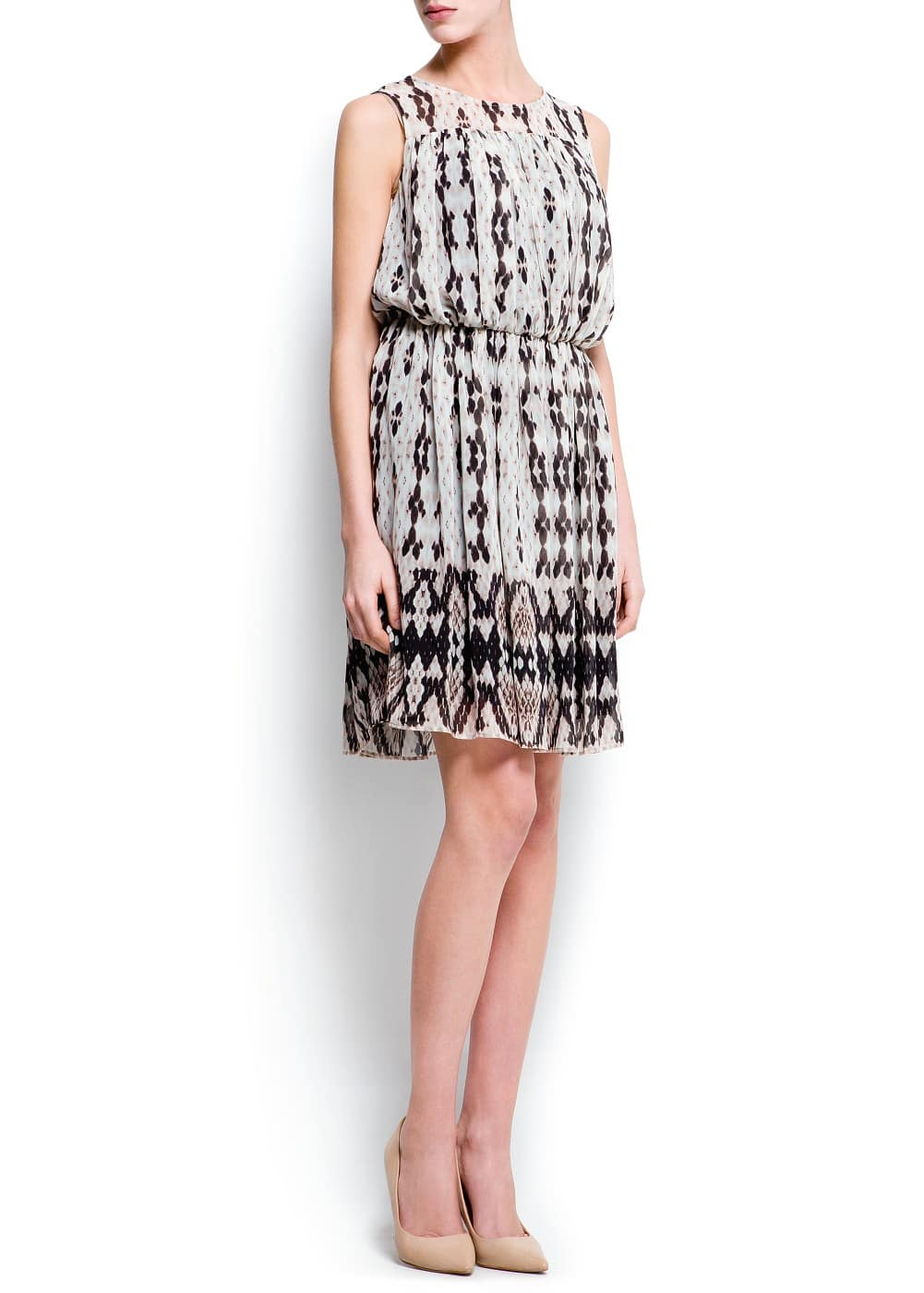 Pleated printed dress | MANGO