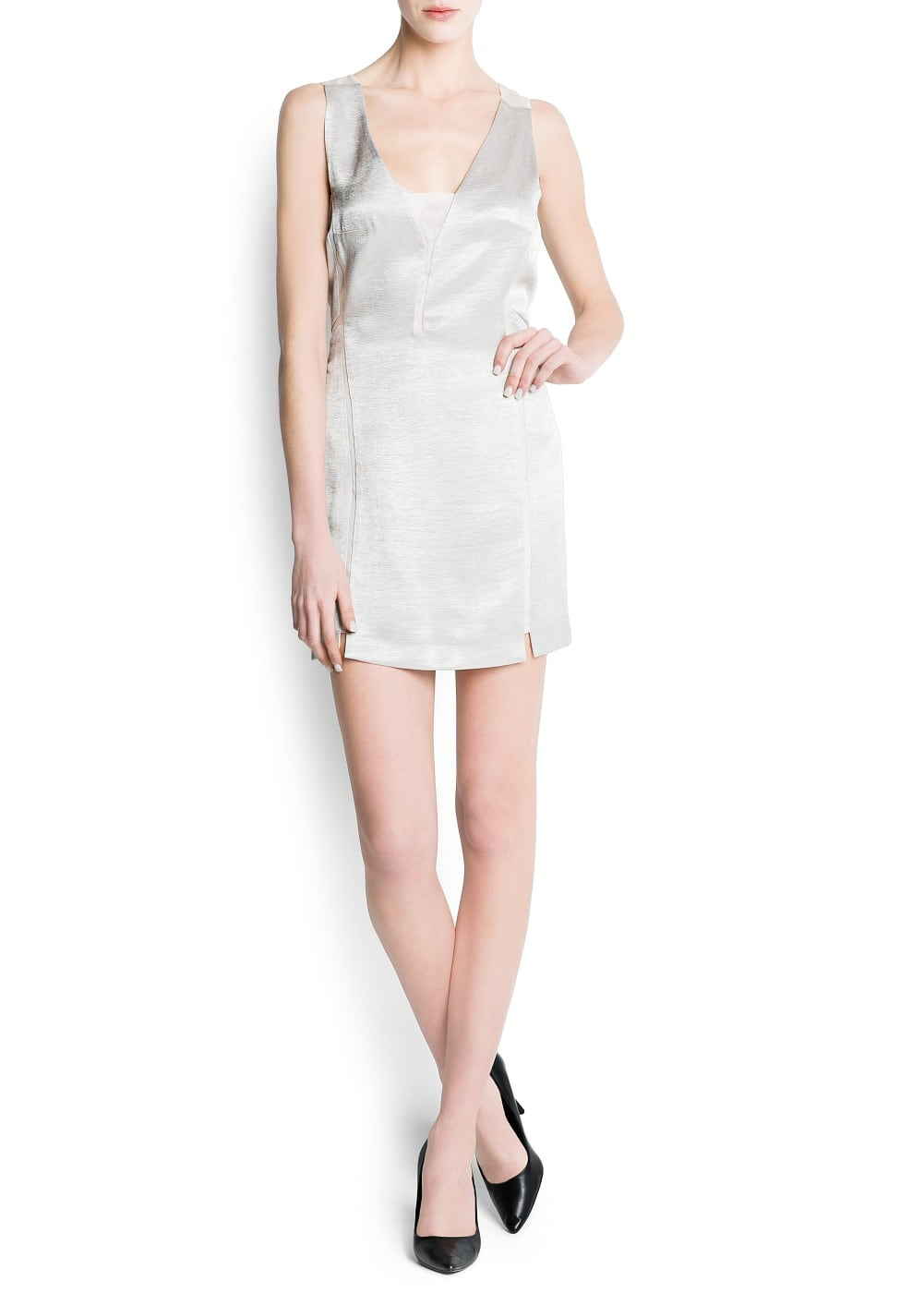 Organza paneled metallic dress | MANGO