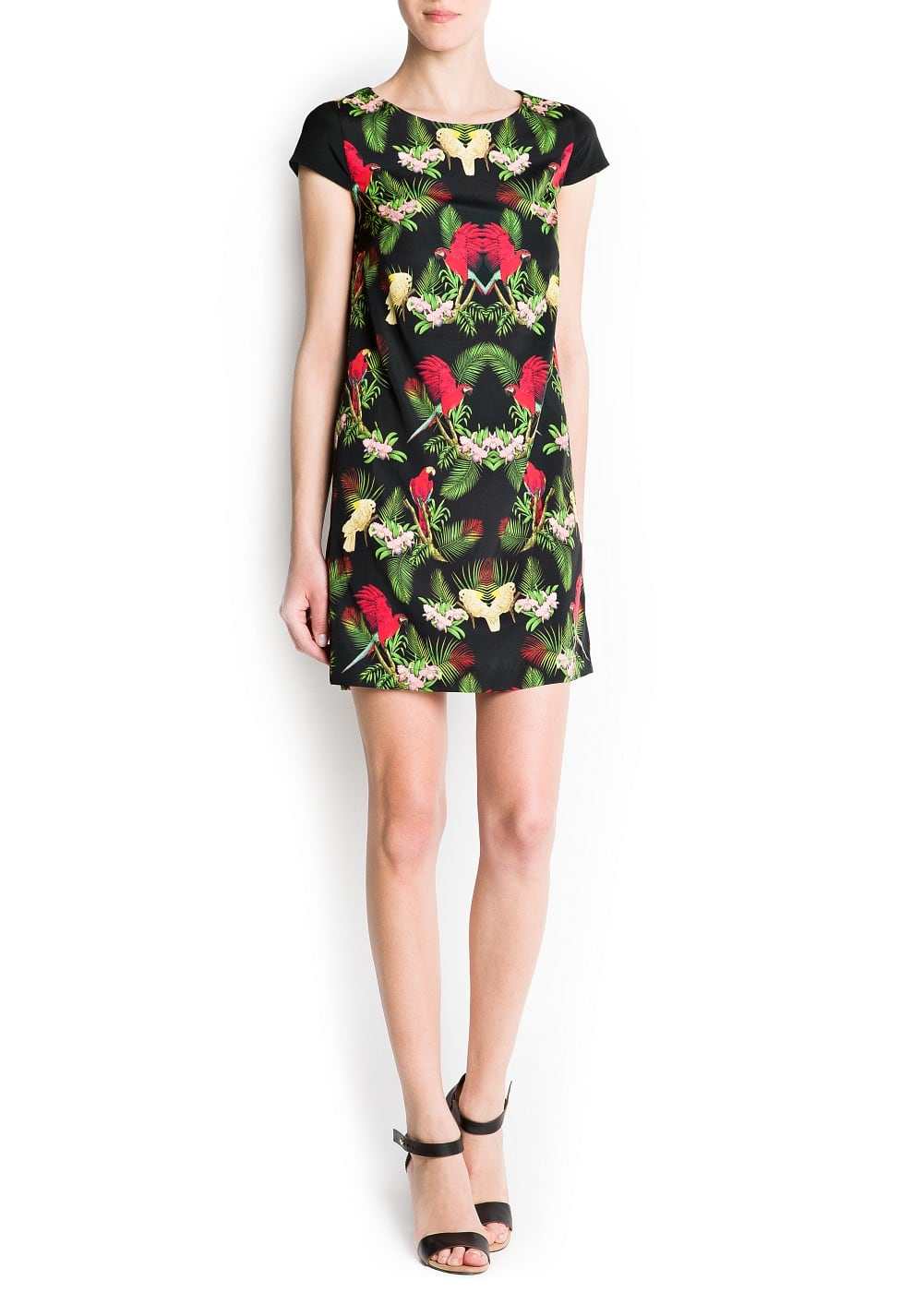 Tropical print straight-cut dress | MANGO