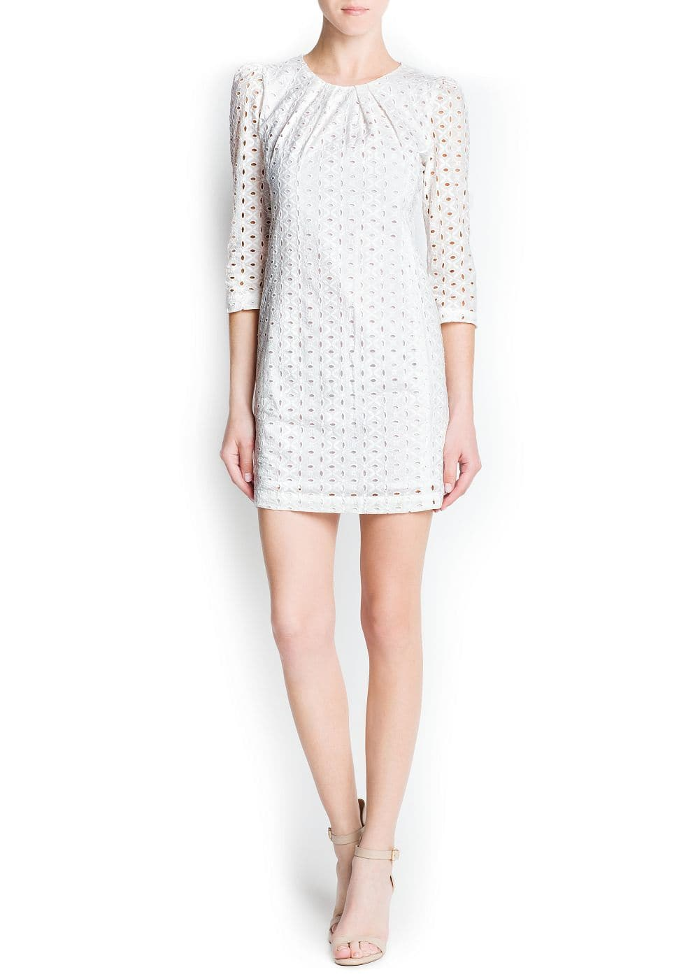 Swiss embroidery cotton dress | MANGO
