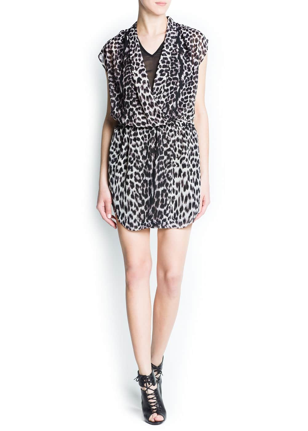 Leopard print chiffon dress | MANGO