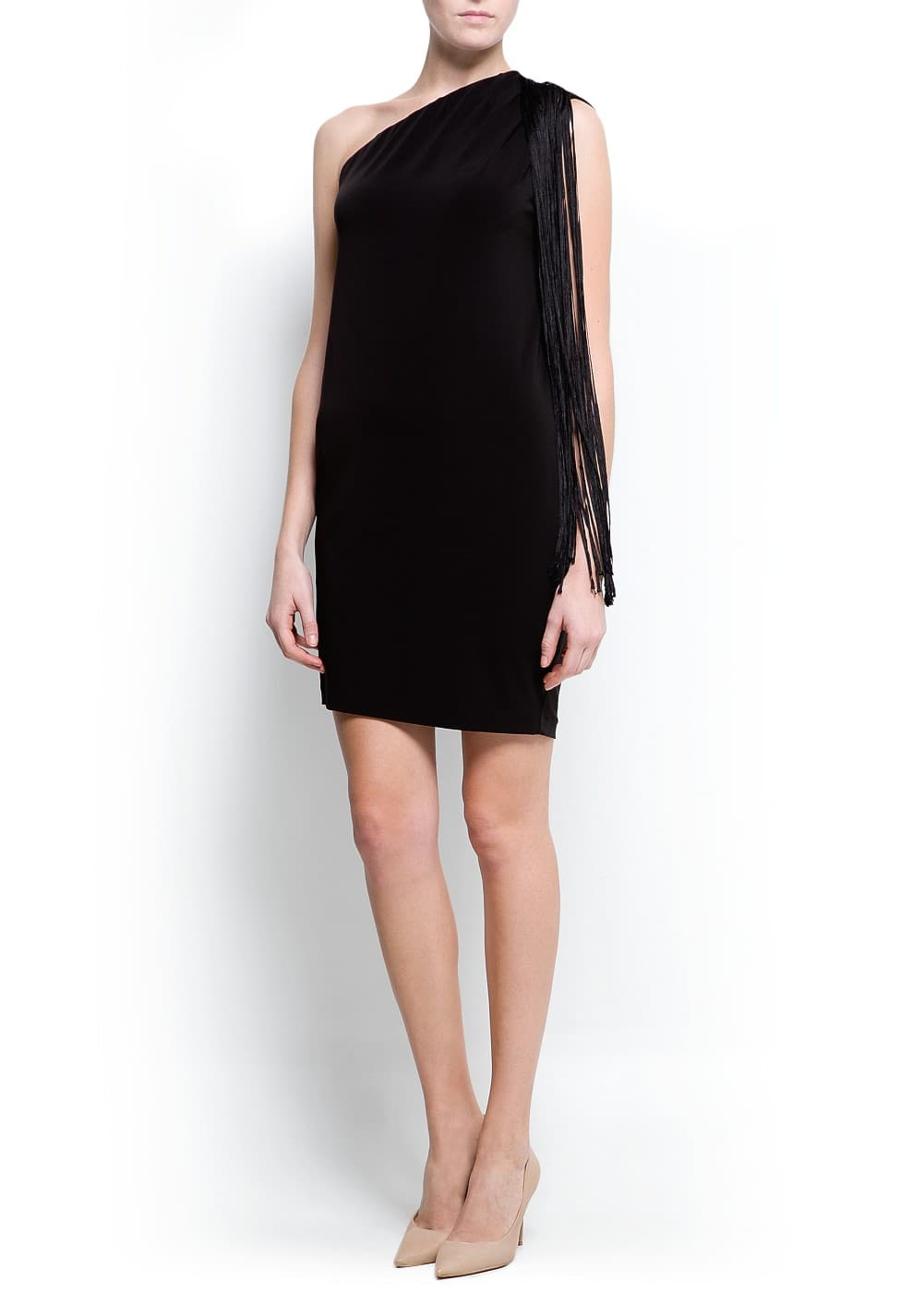 Fringed asymmetric dress | MANGO