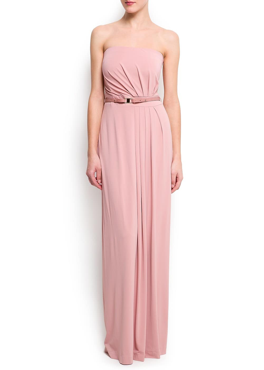 Strapless pleated gown | MANGO