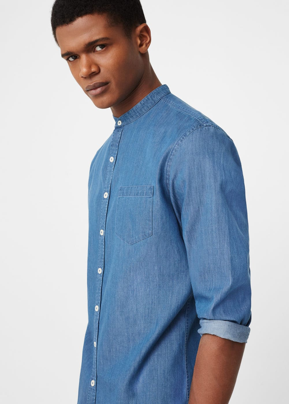 Mao collar chambray shirt | MANGO
