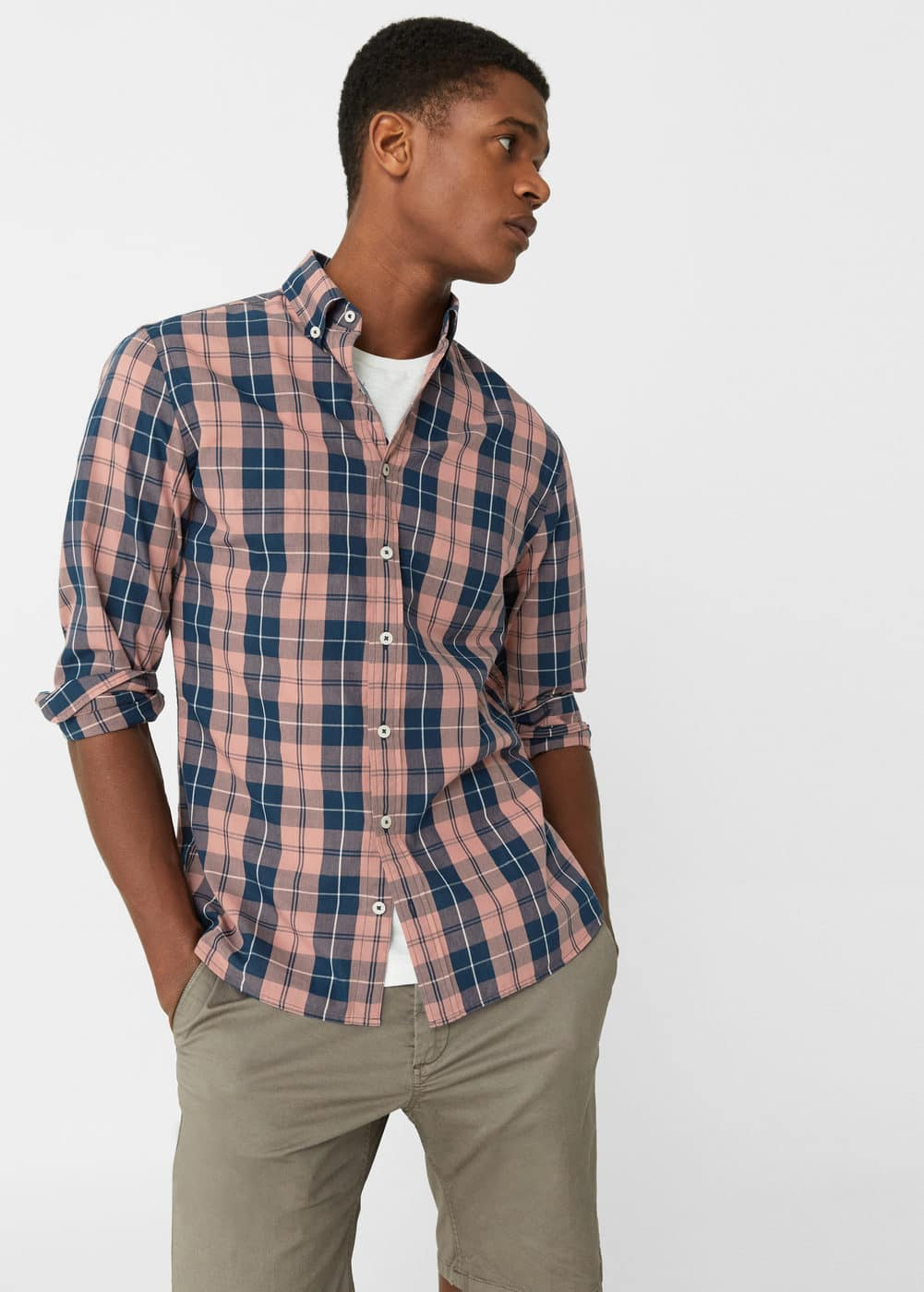 Slim-fit madras check shirt | MANGO MAN