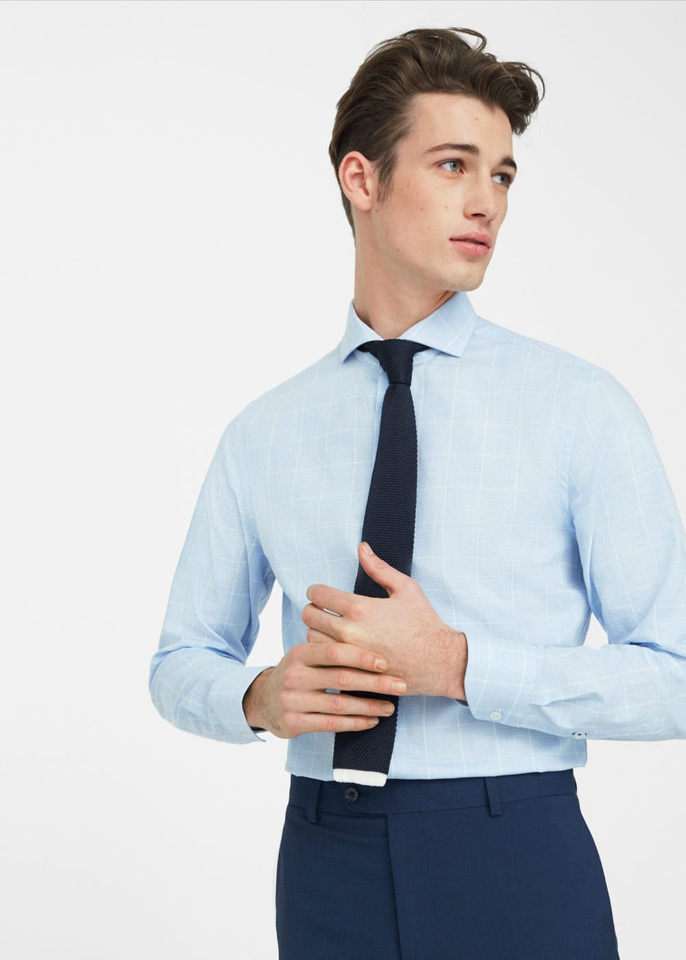 Camisa tailored slim quadres | MANGO MAN
