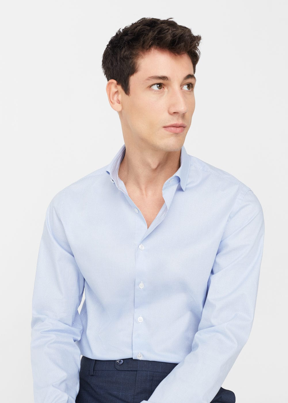 Slim-fit micro-houndstooth tailored shirt | MANGO MAN