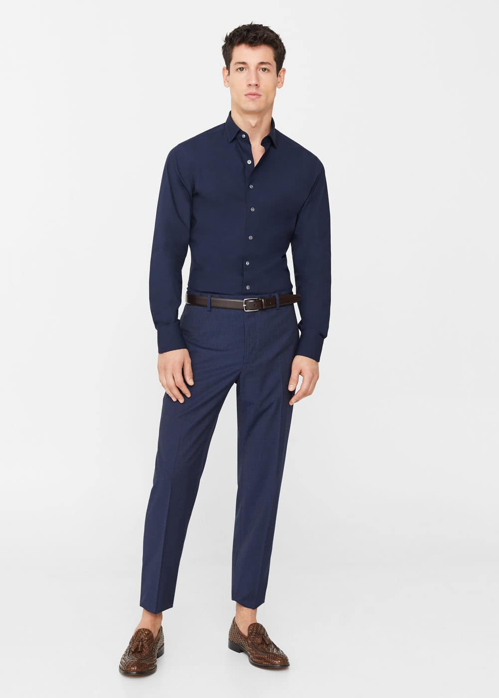 Slim fit tailored-hemd, baumwolle | MANGO