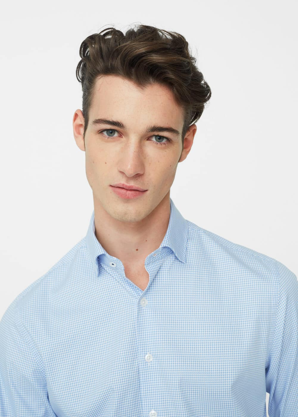 Slim-fit micro-houndstooth tailored shirt | MANGO
