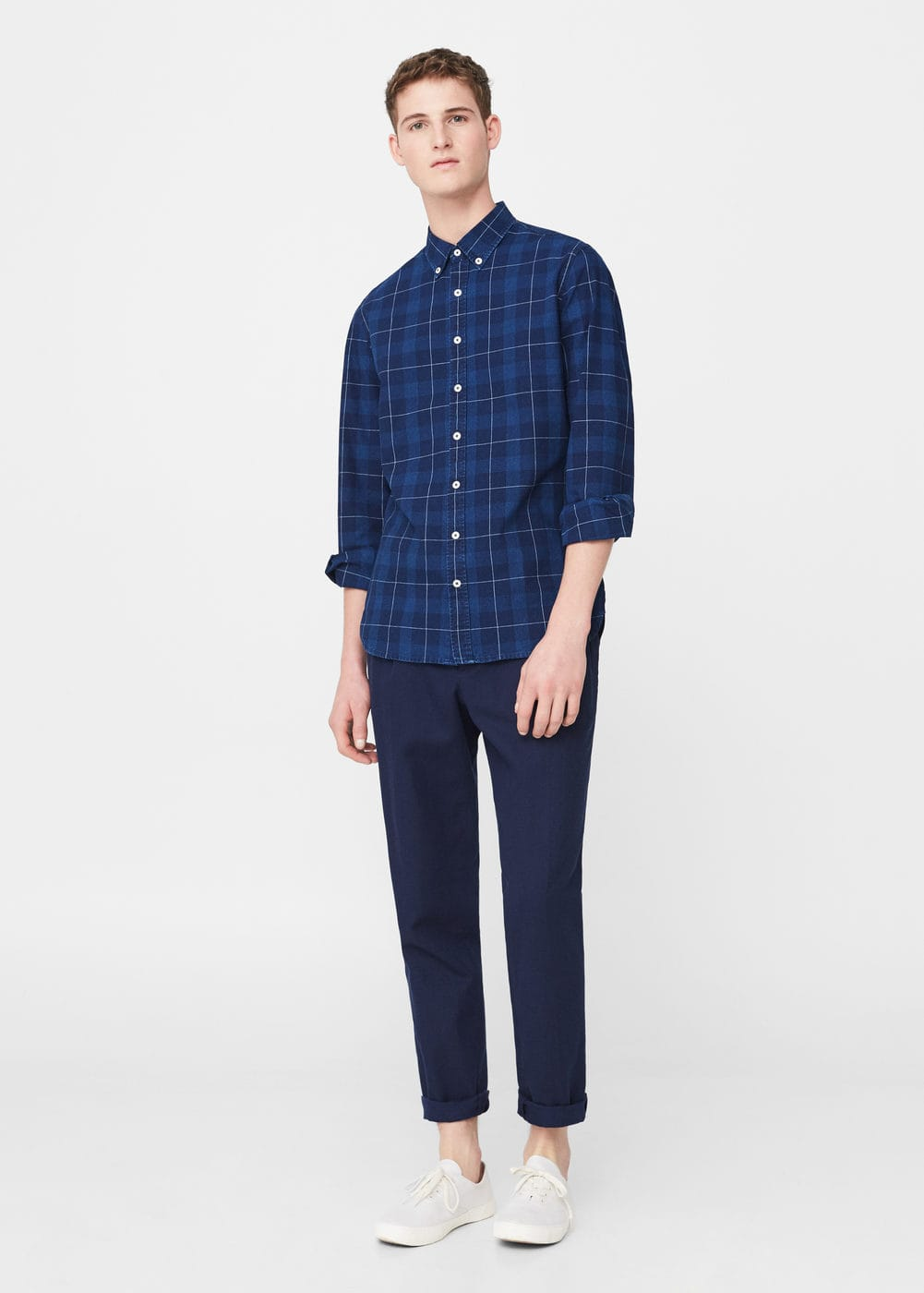 Check chambray shirt | MANGO MAN