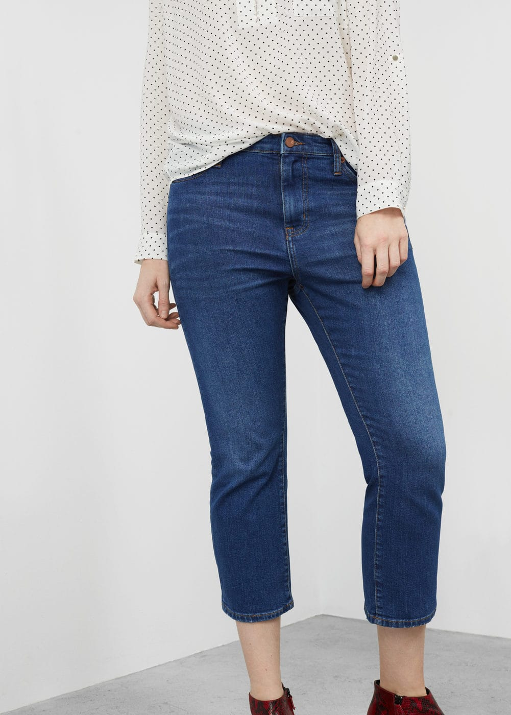 Crop slim-fit madie jeans | VIOLETA BY MANGO