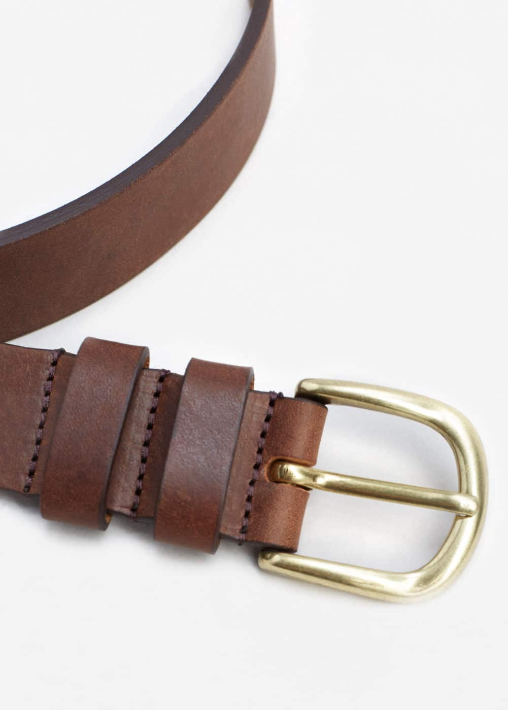 Leather belt | MANGO MAN