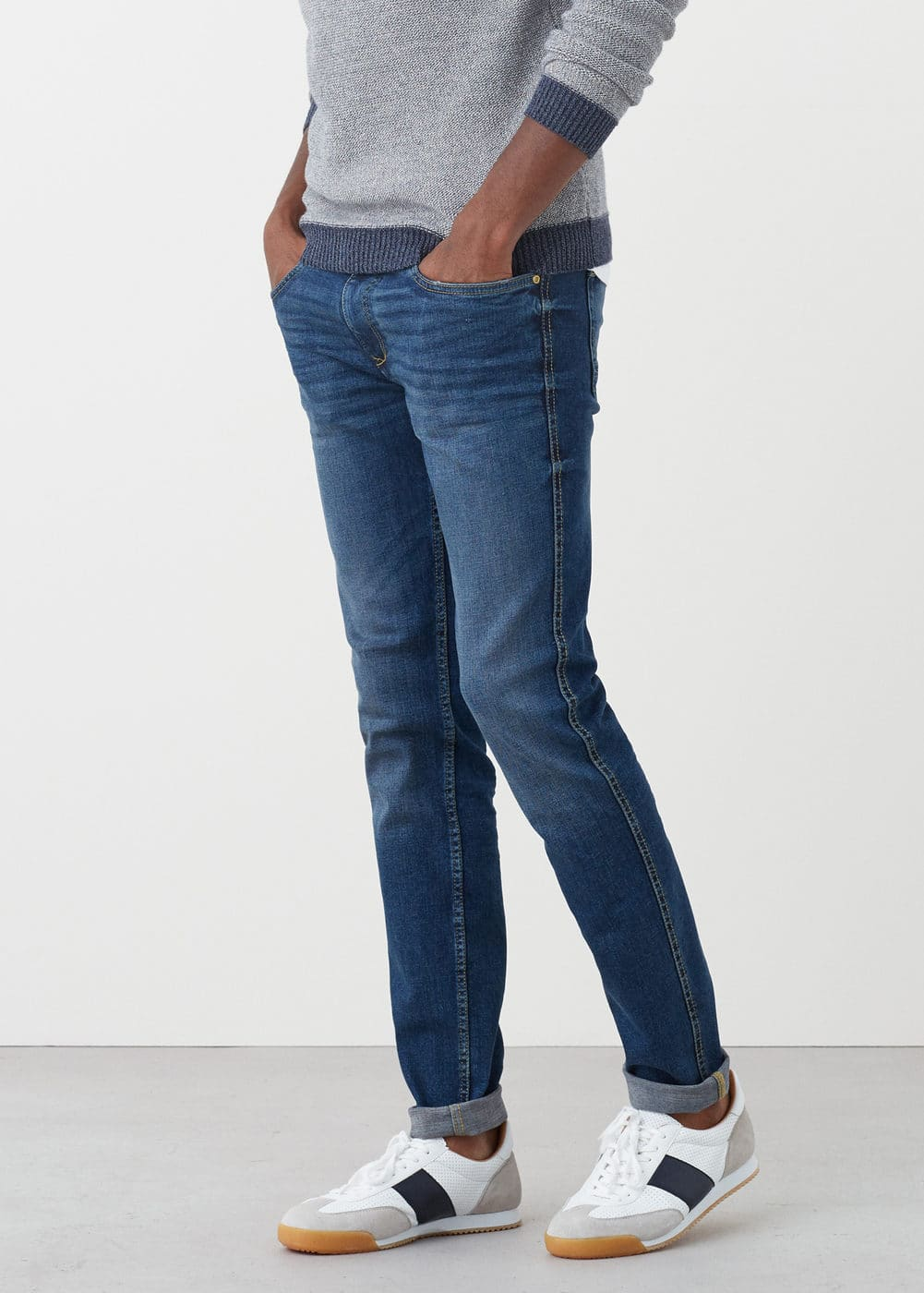 Slim-fit dark wash tim jeans | MANGO