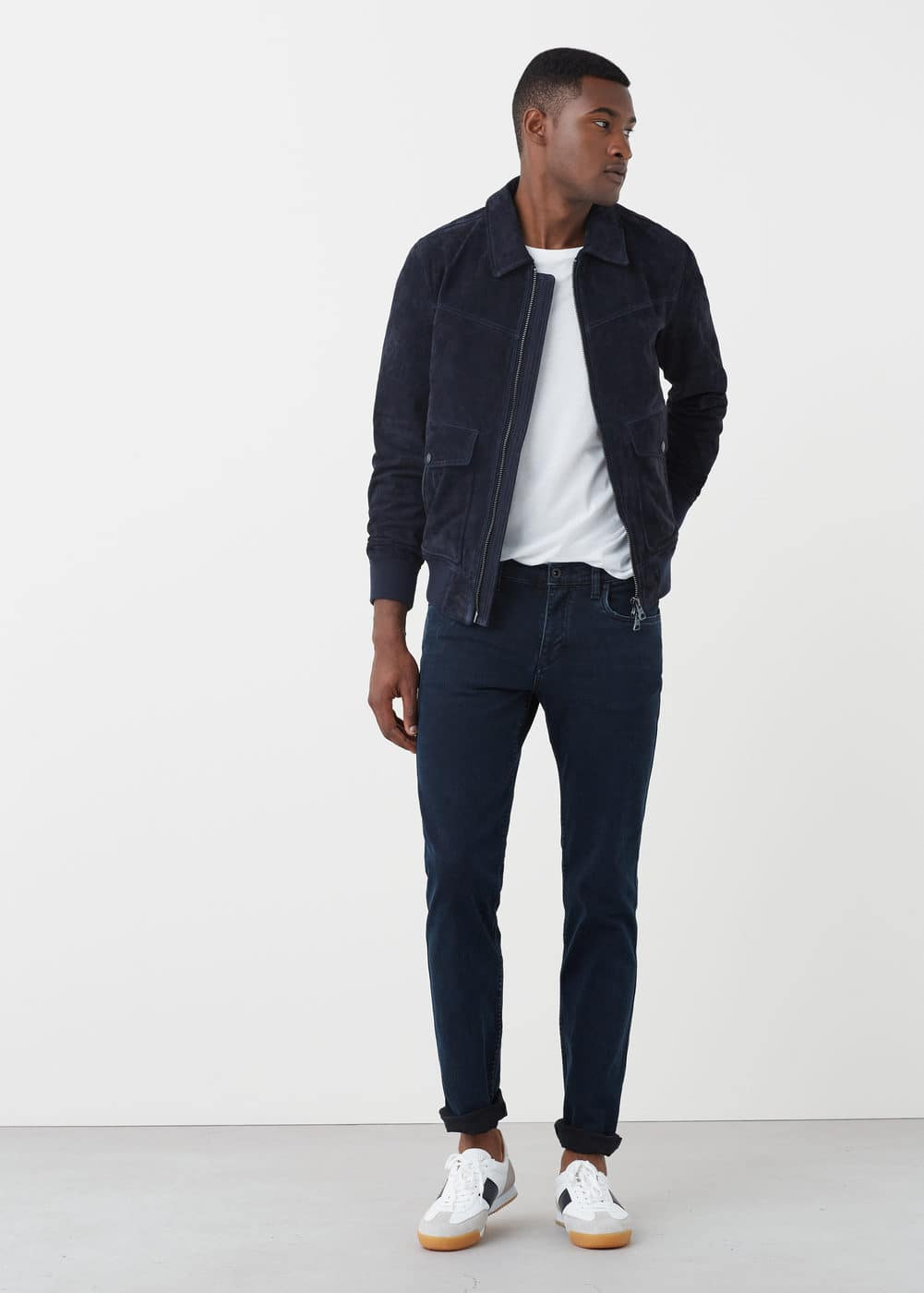 Marineblaue slim fit jeans tim | MANGO MAN