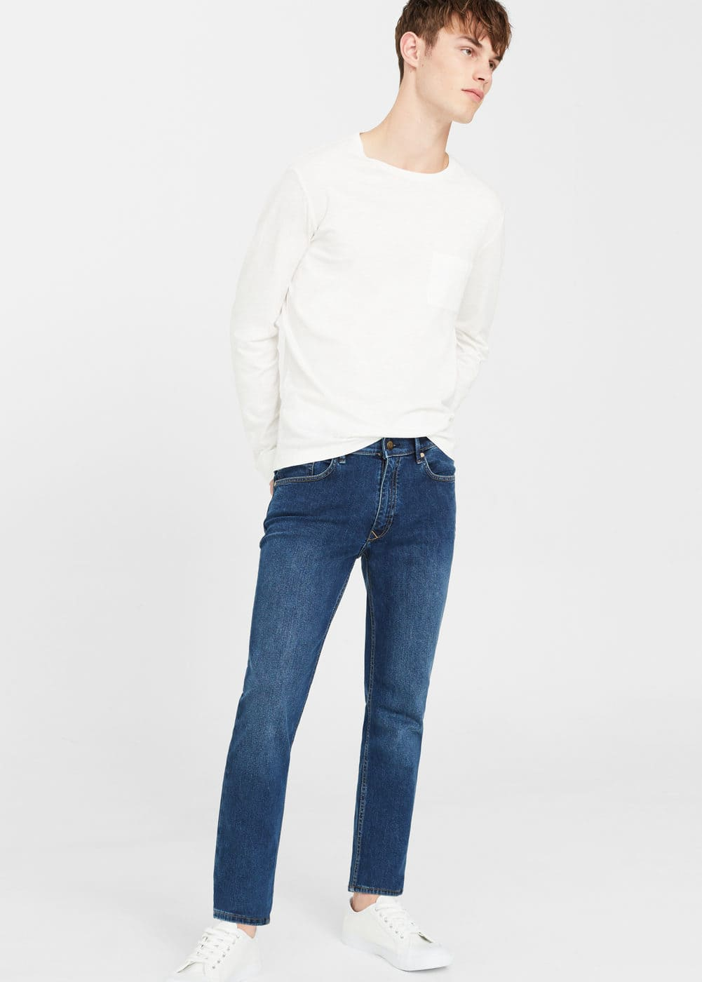Slim-fit dark wash jan jeans | MANGO MAN