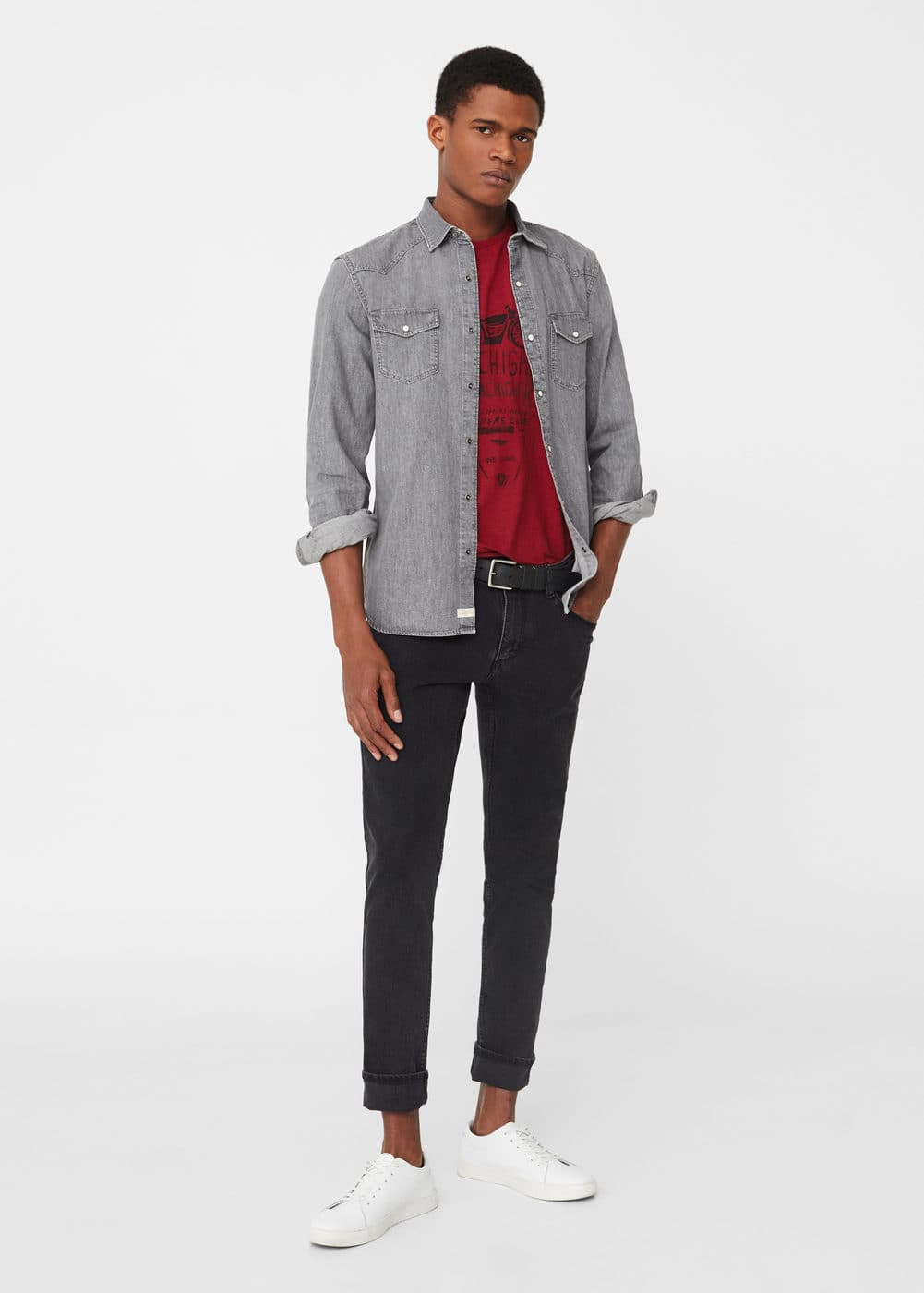 Slim-fit black partrick jeans | MANGO