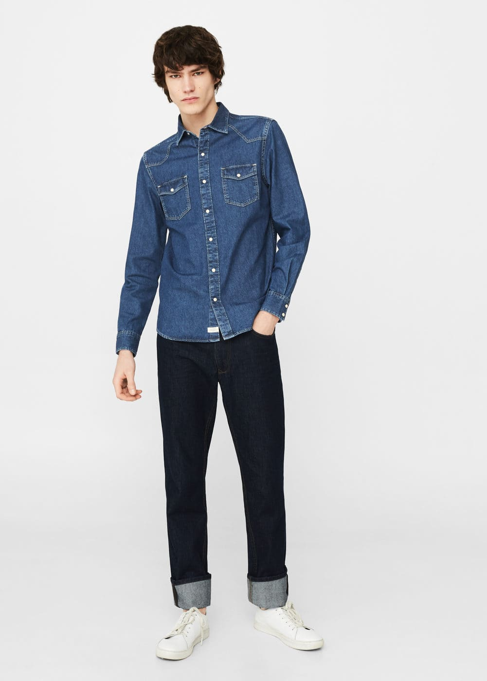 Dark wash denim shirt | MANGO MAN