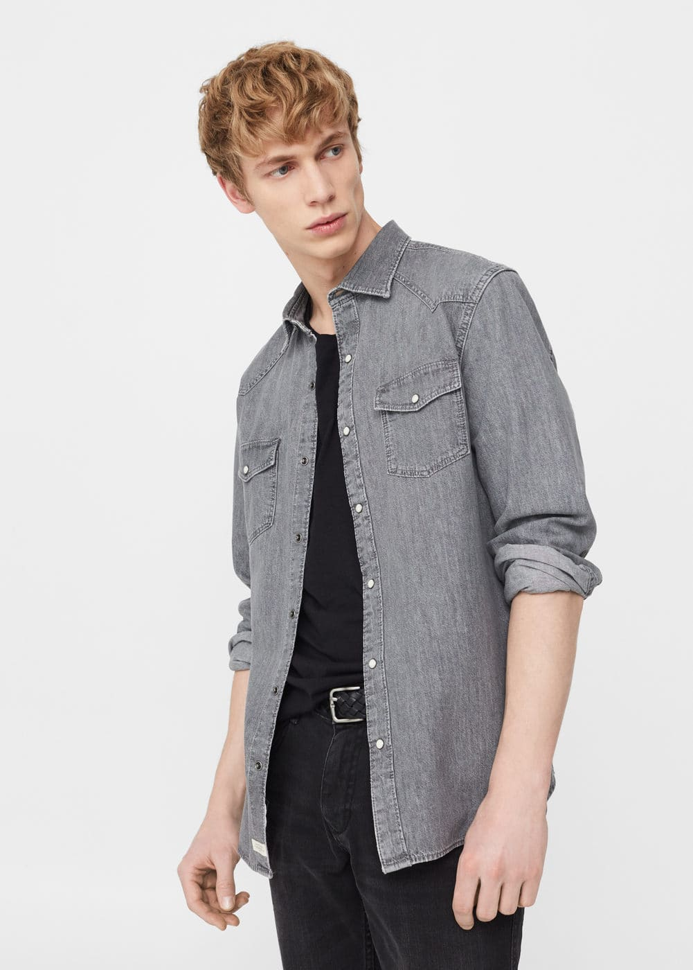 Slim-fit grey denim shirt | MANGO
