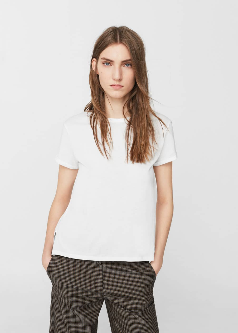 Embroidered contrasting t-shirt | MANGO