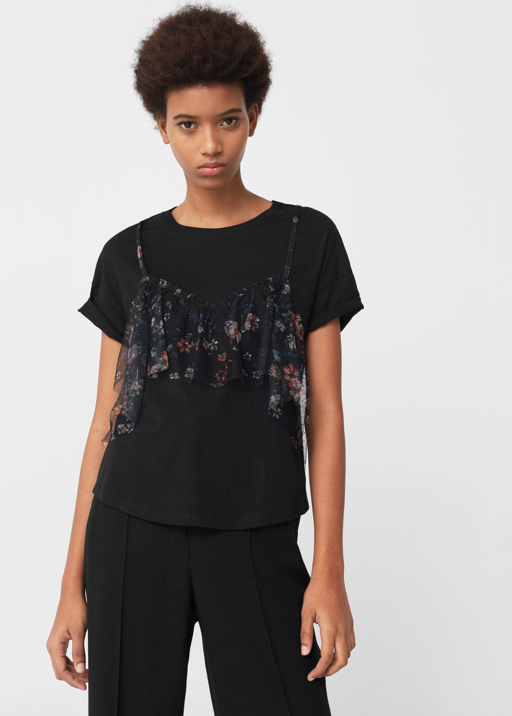 Double-layer cotton t-shirt | MANGO