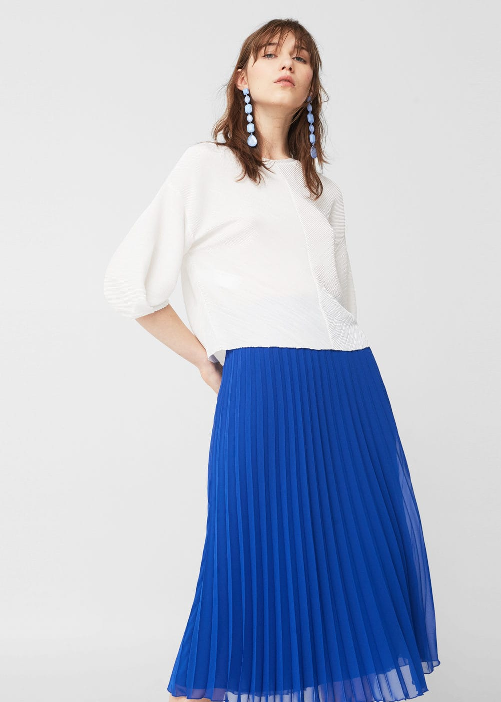 Pleated t-shirt | MANGO