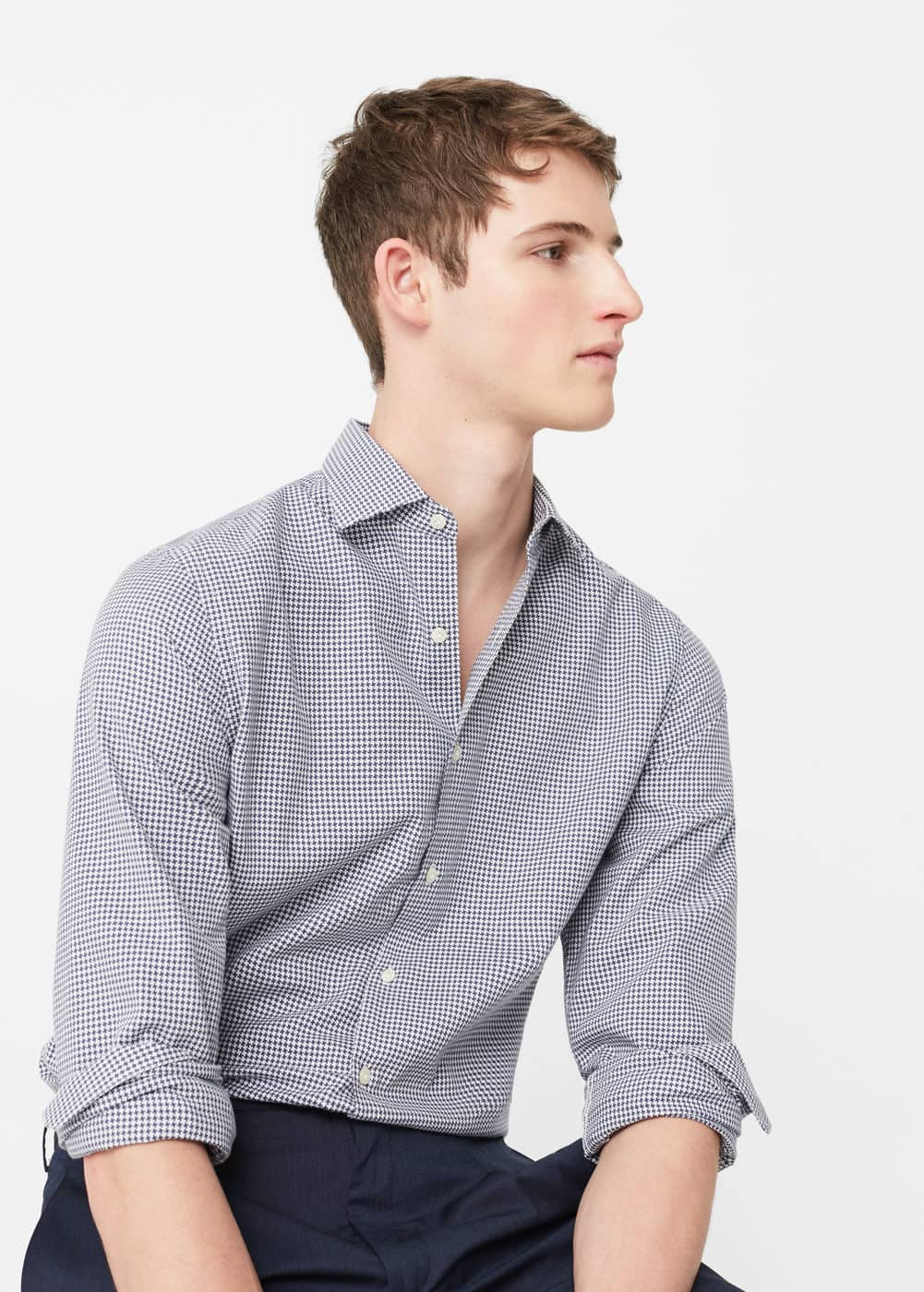 Slim-fit houndstooth shirt | MANGO MAN