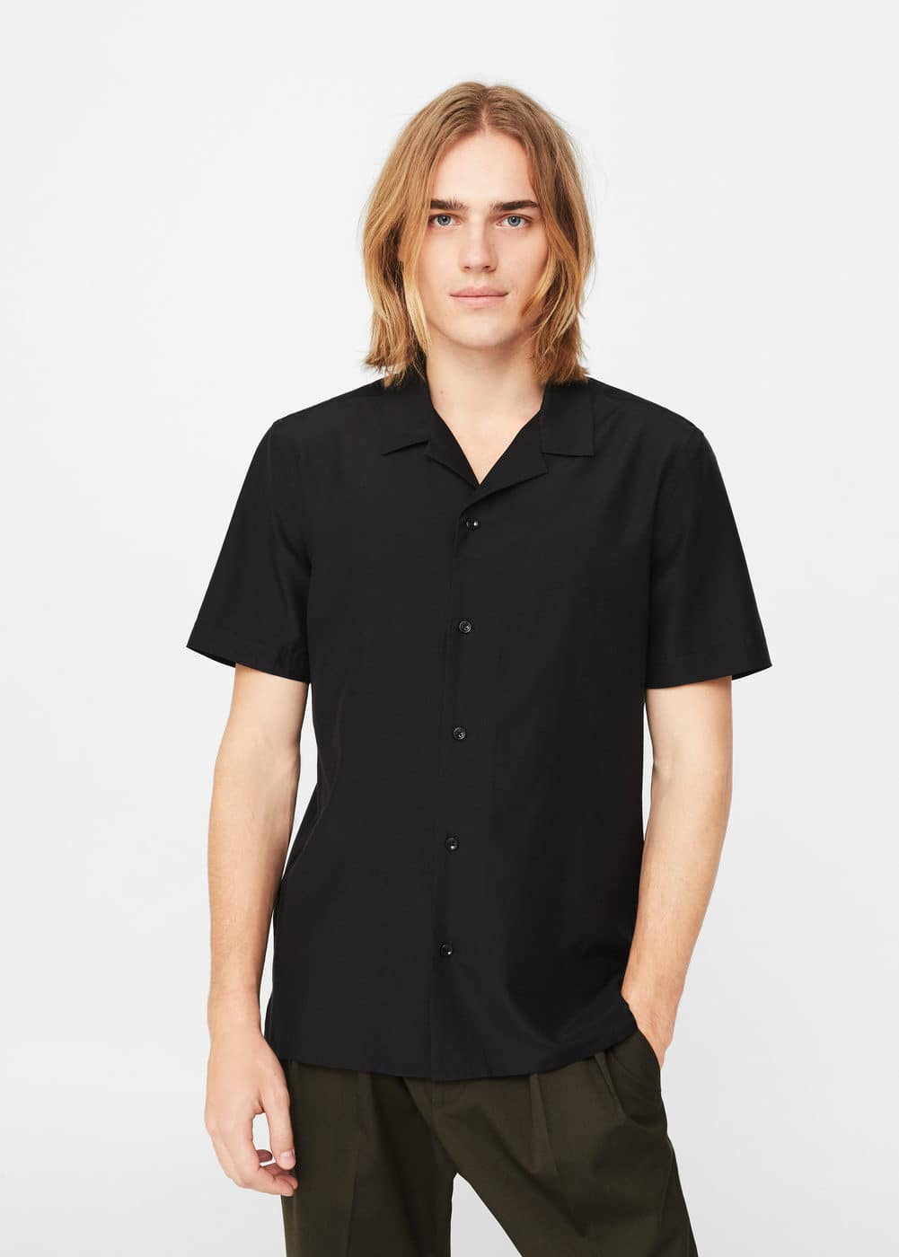 Cotton silk-blend regular-fit shirt | MANGO