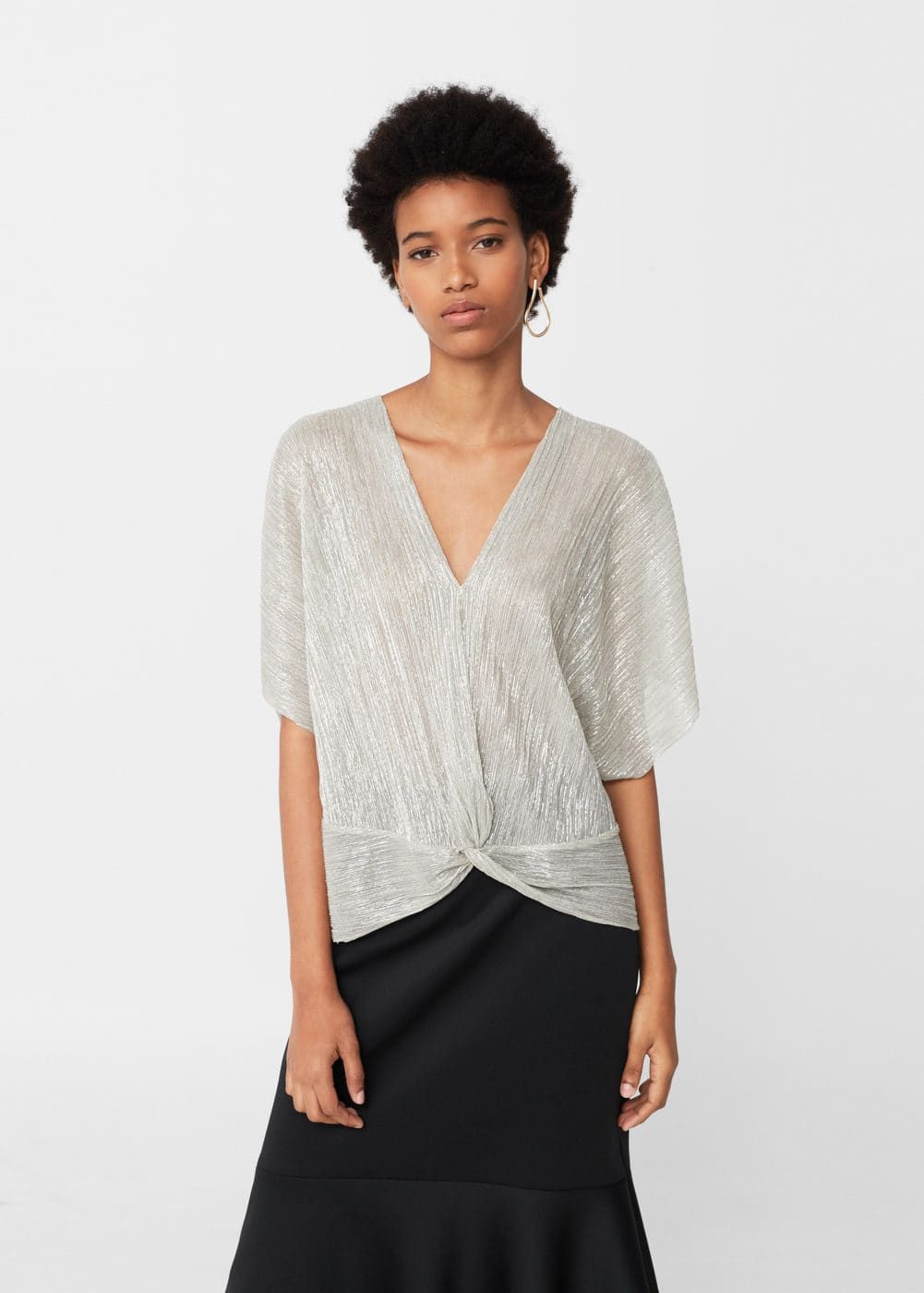Metallic pleated shirt | MANGO
