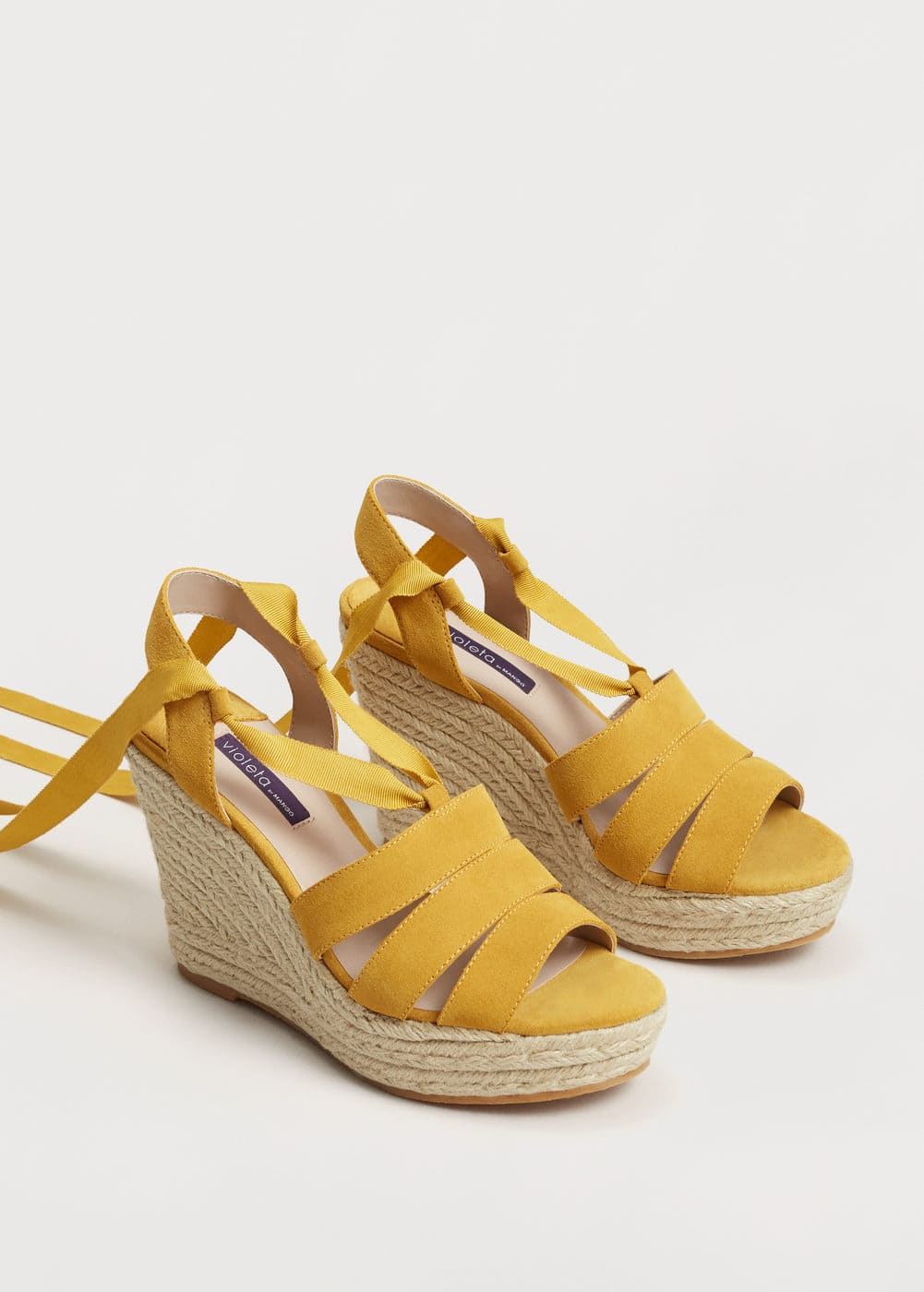 Esparto leather wedges | MANGO