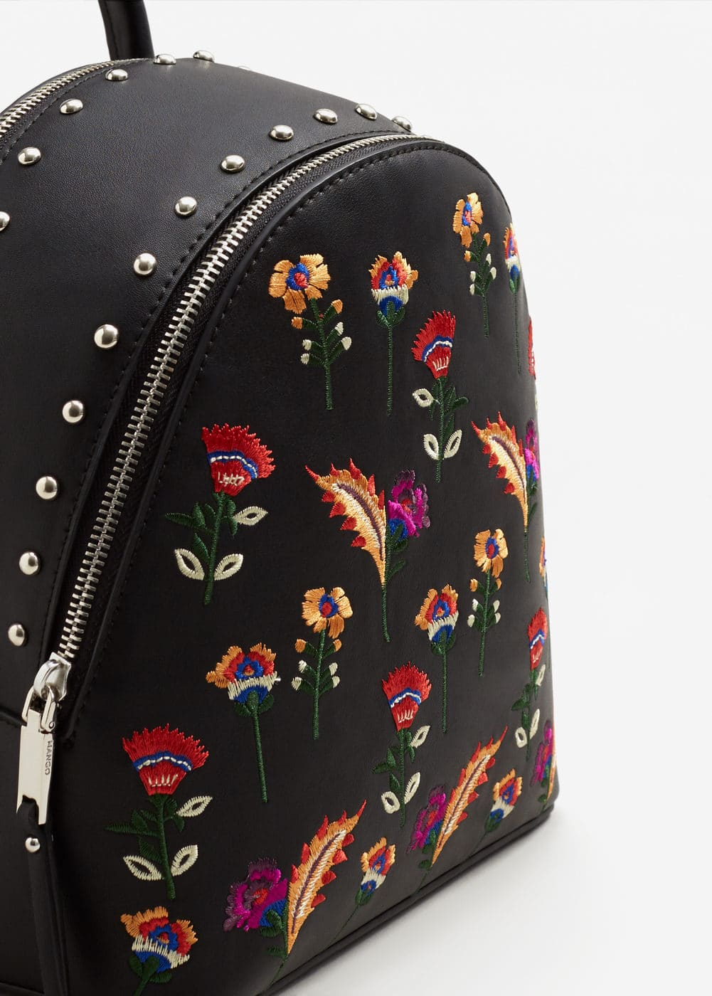Embroidered studded backpack | MANGO