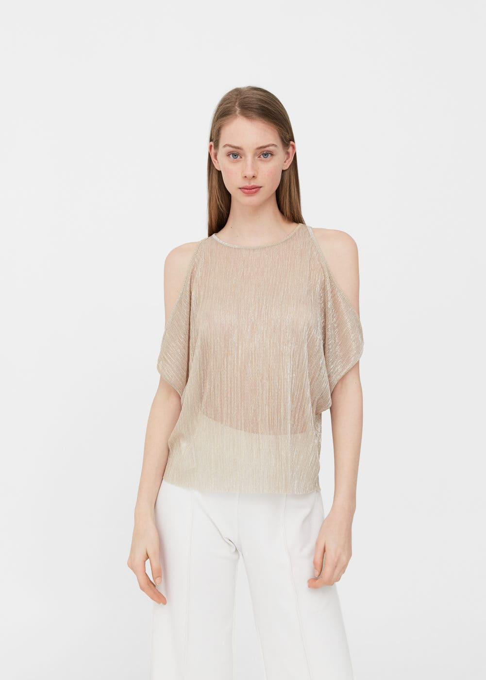 Off-shoulders textured t-shirt | MNG