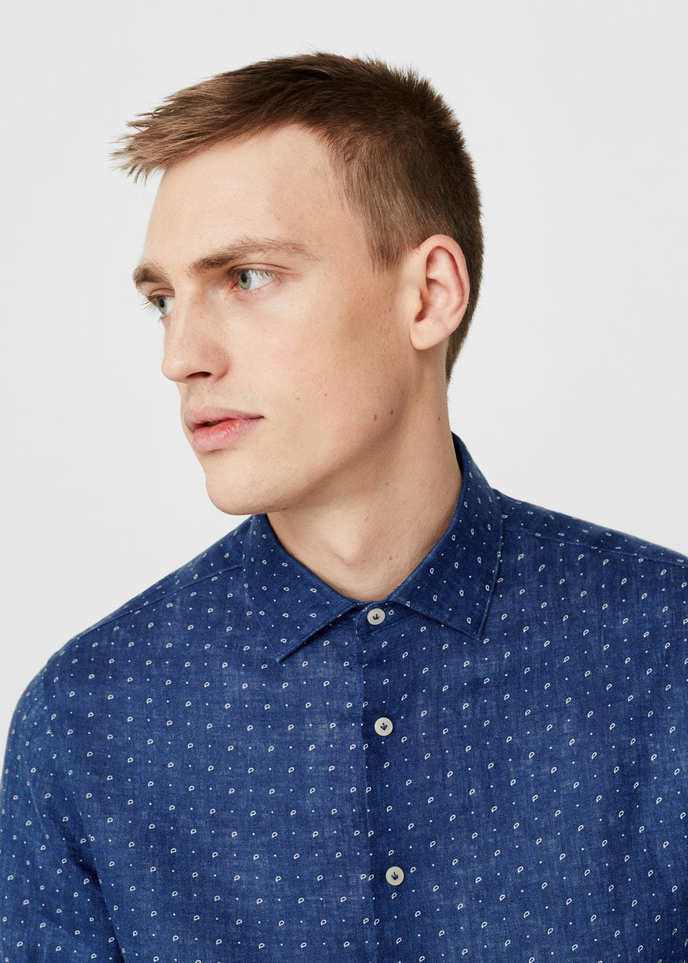 Slim-fit printed linen shirt | MANGO