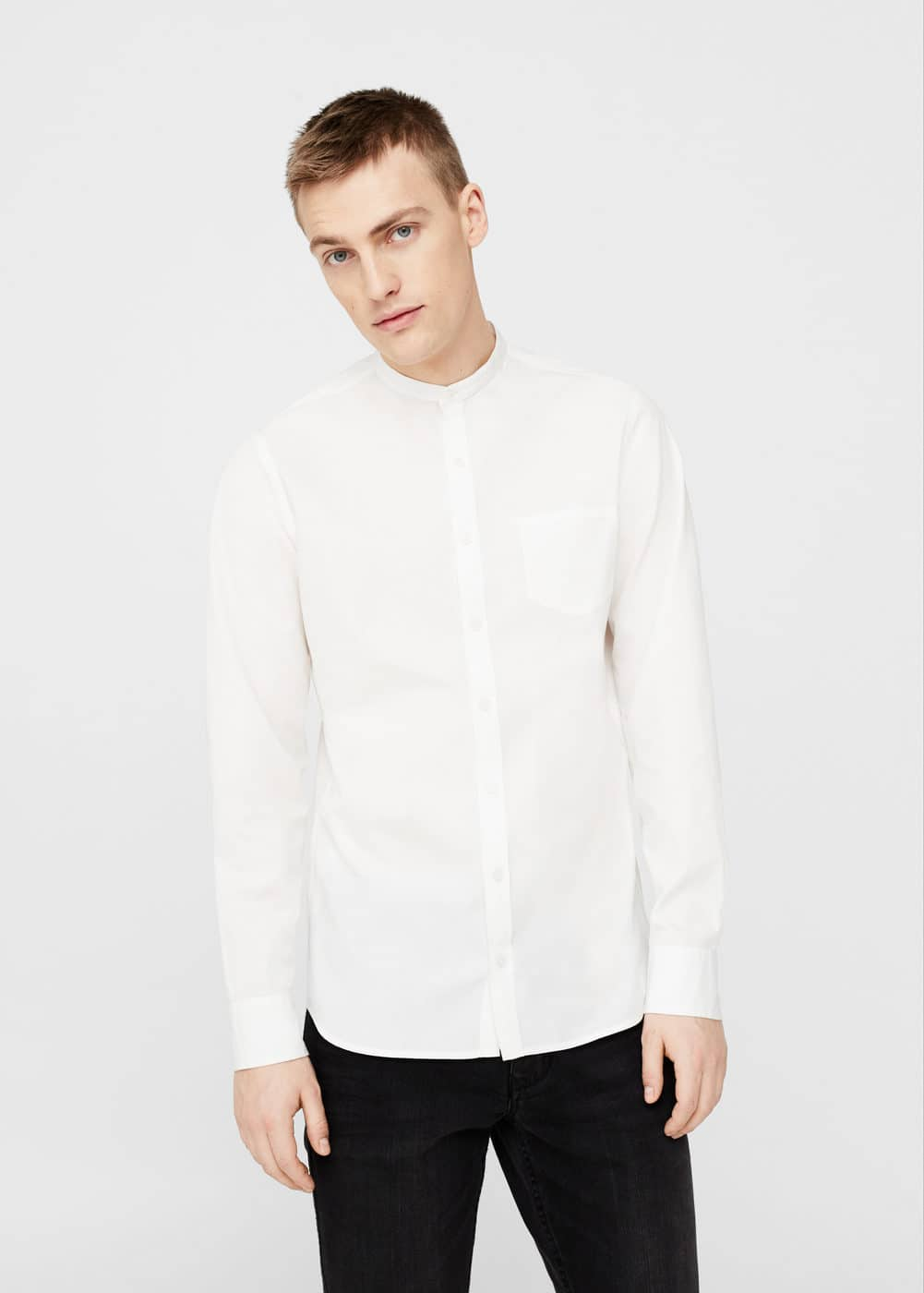 Slim-fit mao collar shirt | MANGO MAN