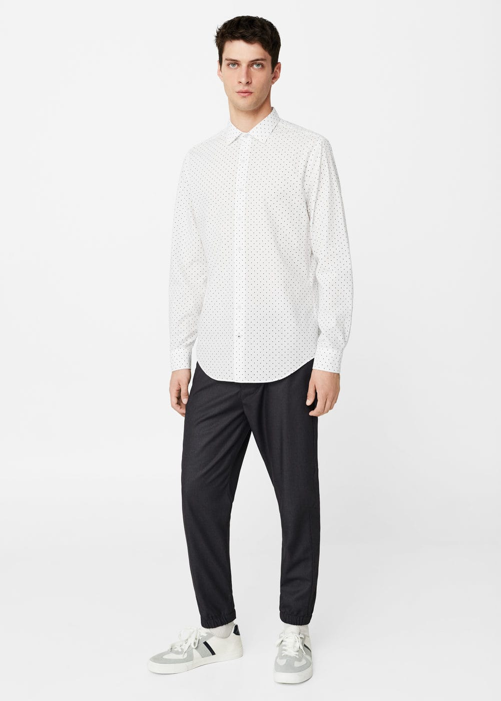 Slim-fit polka-dot shirt | MANGO MAN