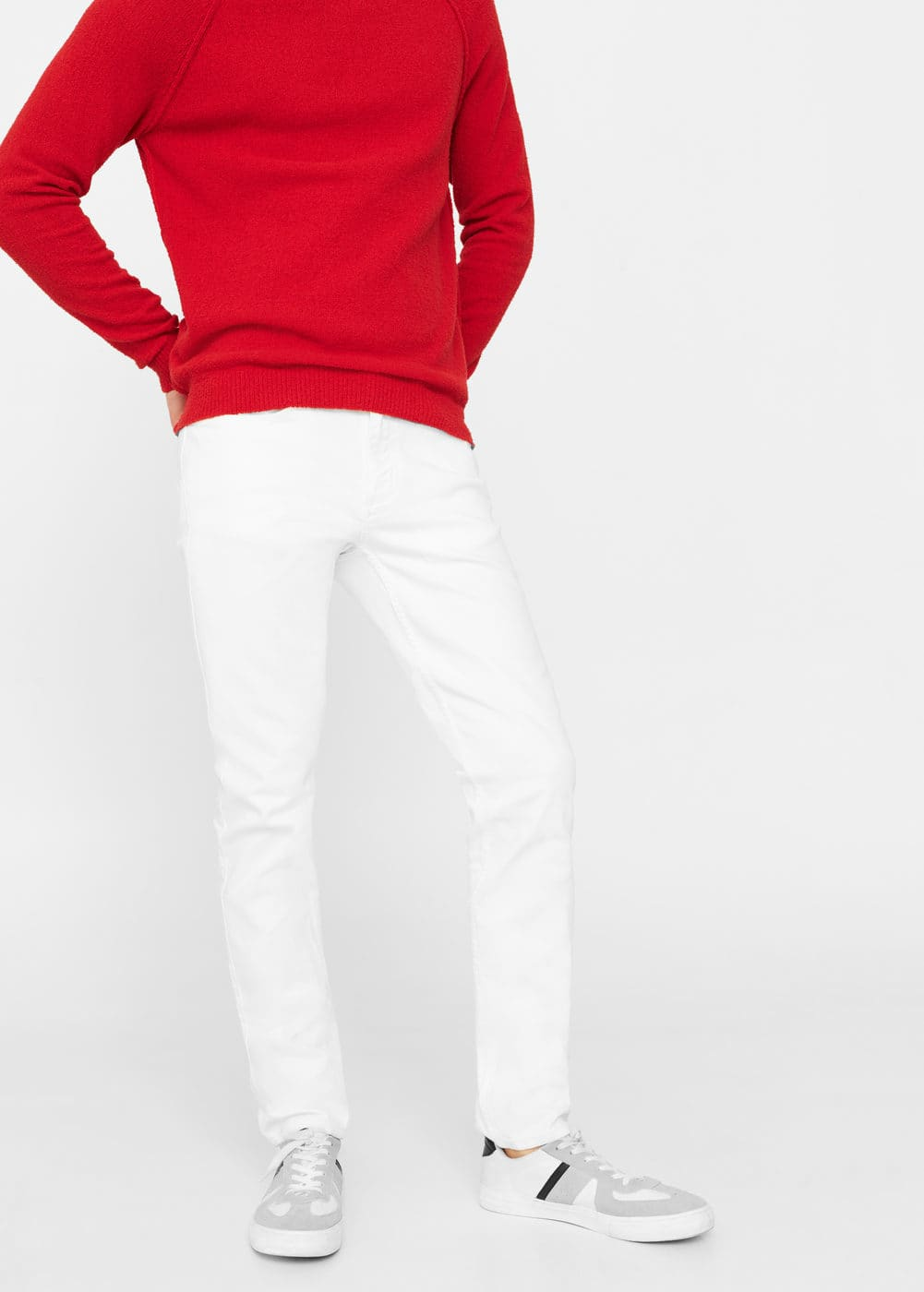 Slim-fit white partrick jeans | MANGO MAN