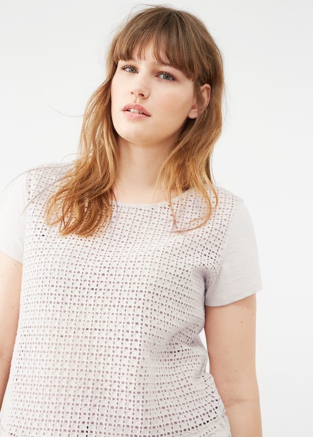 Mixed laser-cut t-shirt | VIOLETA BY MNG